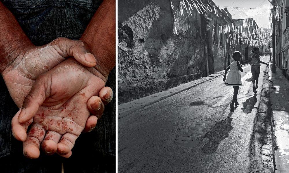 A imagem é uma montagem com duas fotografias. À esquerda, são as duas mãos de uma pessoas, nas costas dela, com uma mão abraçando a outra, e elas estão sujas. Na imagem da direita, meninas correm pela rua do Pelourinho.