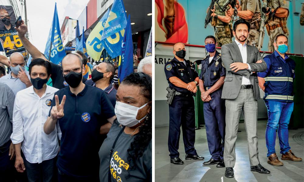 A imagem é uma montagem com duas fotos. À esquerda, Nunes e Covas, de máscara, durante campanha nas ruas de São Paulo, cercados de pessoas. À direita, Nunes está à frente de outros três policias, todos de máscara, com expressão séria encarando a câmera.