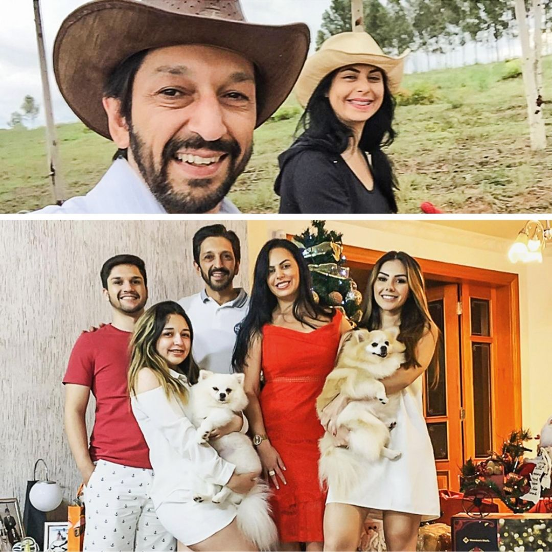 A imagem apresenta uma montagem com duas fotos. Na de cima, Ricardo Nunes tira uma selfie com a esposa, ambos sorrindo. Abaixo, ele está junto de sua família em uma sala, todos abraçados e sorrindo.
