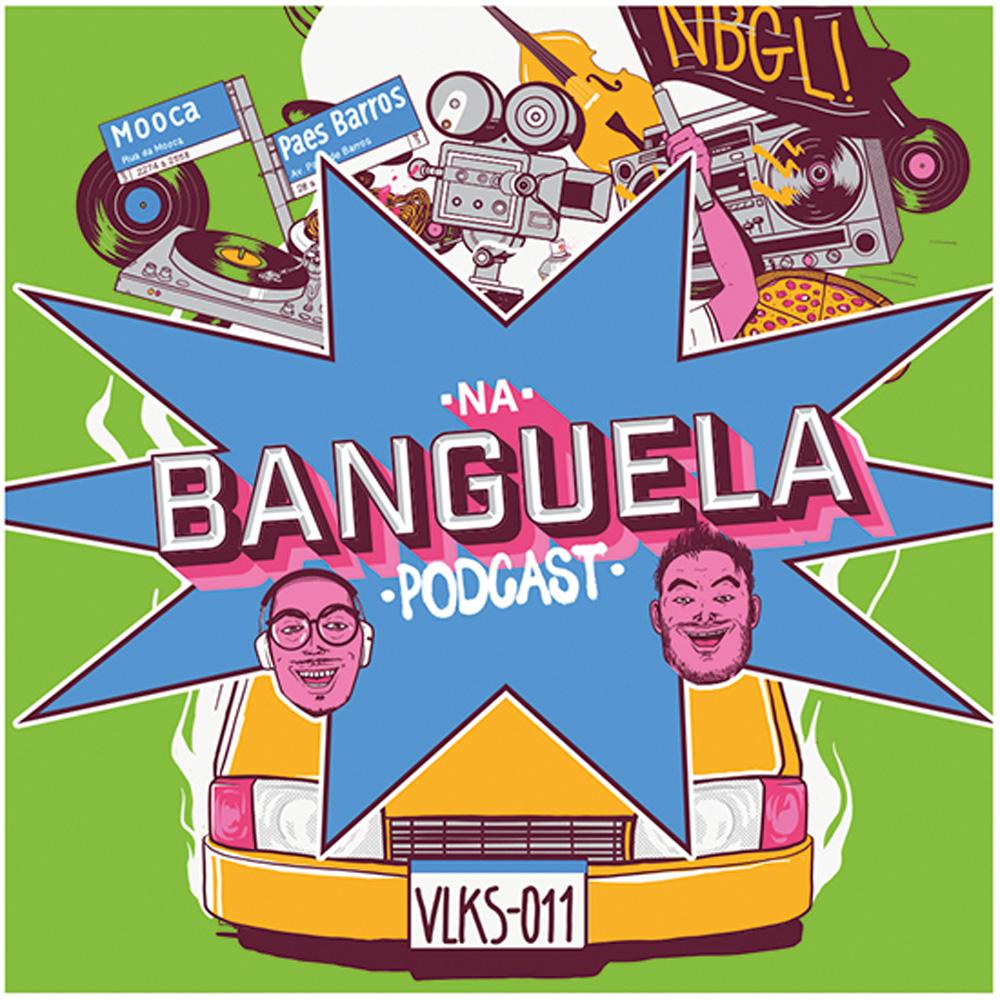 A imagem mostra uma ilustração com vários desenhos, os dois rostos dos apresentadores, colagens e um carro coberto por uma tarja azul de explosão escrita em seu centro
