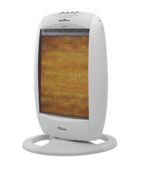 Um aquecedor ligado com interior alaranjado. Estrutura é cinza
