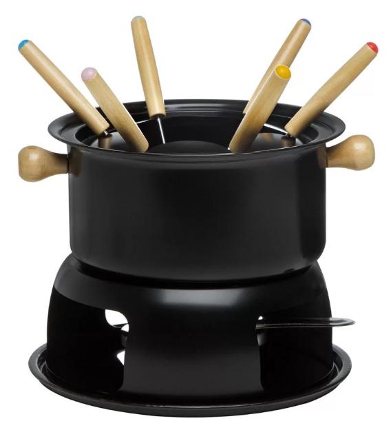 Aparelho de fondue preto. É uma bacia com garfinhos coloridos dentro