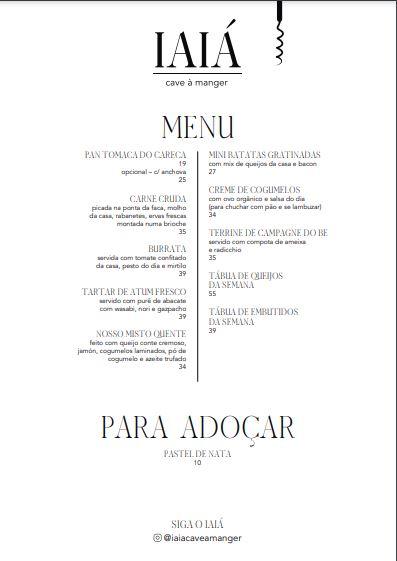 Print do cardápio do bar Iaiá Cave à Manger.