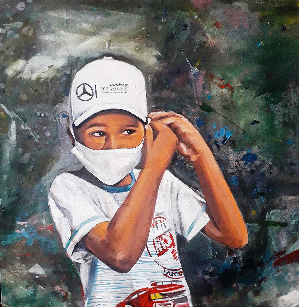 Pintura em tela de uma criança negra com máscara de proteção da Covid e boné da Mercedes