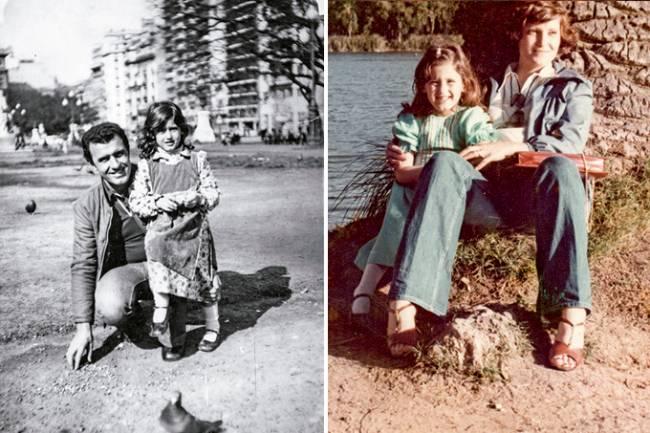 Duas fotos unidas verticalmente por linha branca. À esquerda, imagem preto e branco de criança com pai (agachado ao lado dela) em praça. À direita, criança sentada com a mãe em árvore à beira de um lago.
