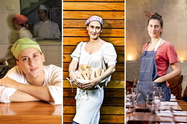 Três fotos da chef Paola Carosella unidas verticalmente por linha branca. A primeira à esquerda, com dólmã e lenço verde na cabeça, a chef (mulher branca) está abaixada, com braços apoiados sobre bancada de madeira. Ao centro, de blusa e avental brancos, segura cesta de pães em frente à parede de madeira. À esquerda, de macacão jeans e cabelo preso, está em meio a mesas postas no restaurante Arturito.