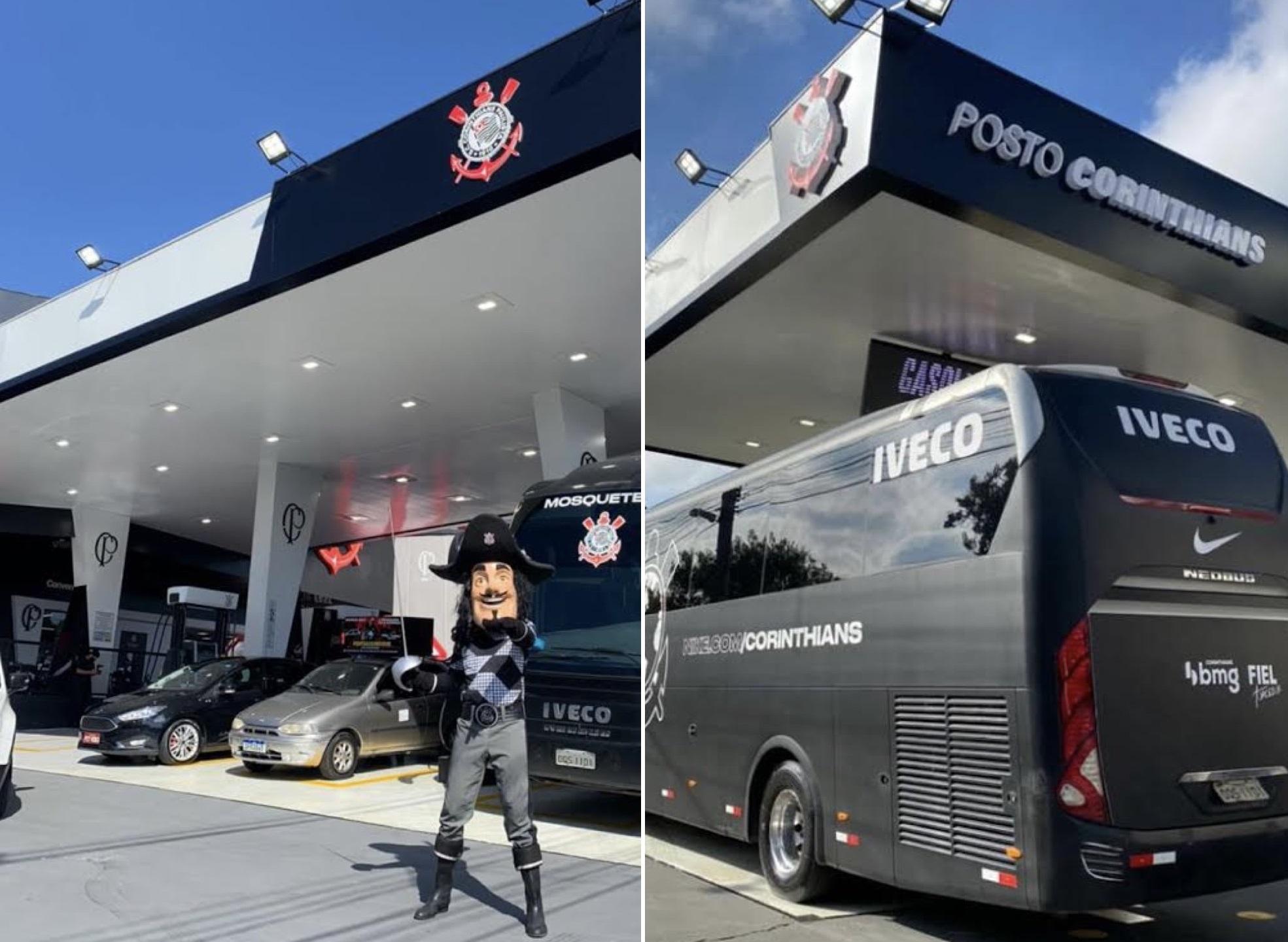 Duas imagens que mostram o posto. À esquerda, com o mascote de time à frente. À direita, um ônibus preto.