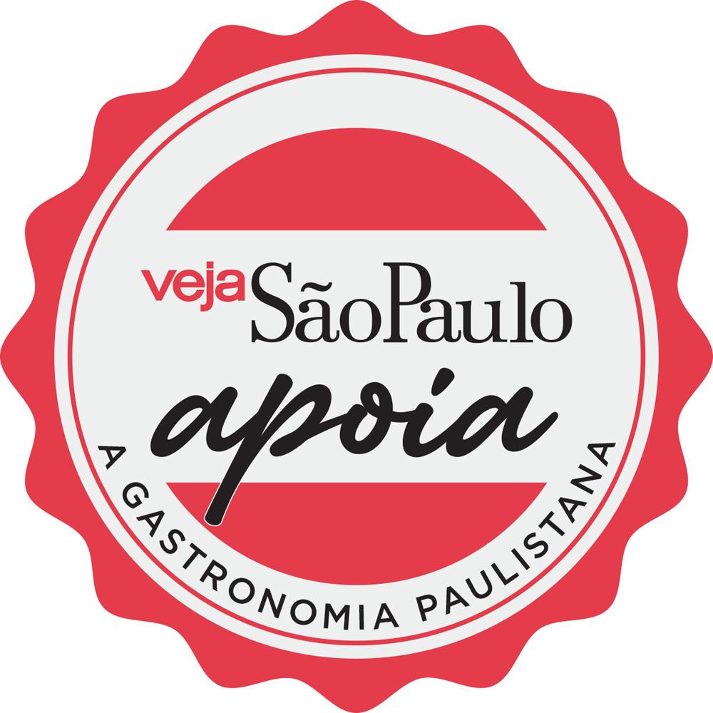 """Desenho do selo """"Veja São Paulo apoia a gastronomia paulistana""""."""