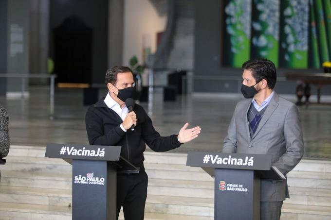 O governador João Doria e o prefeito Ricardo Nunes