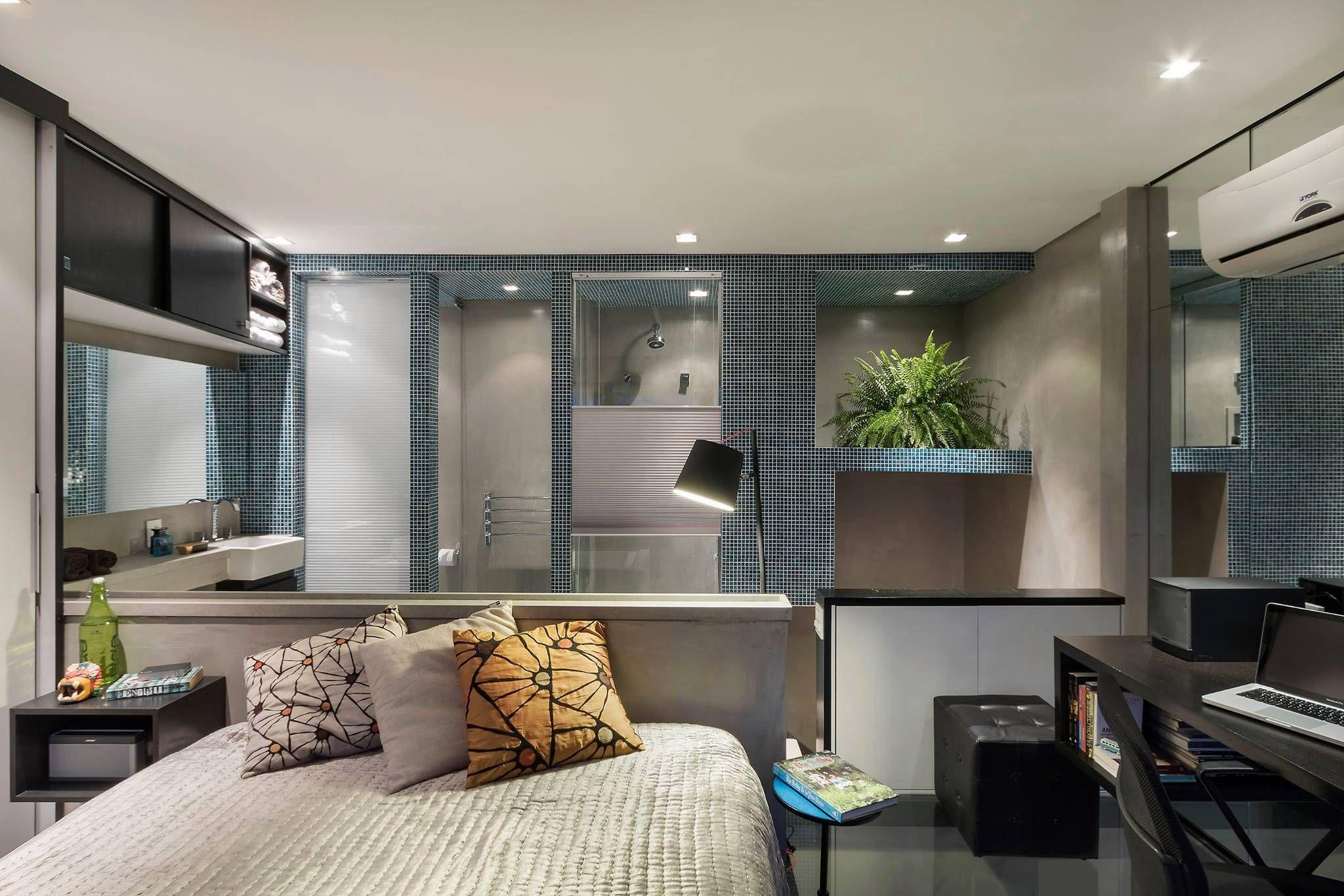 Integração de espaços e cores urbanas marcam loft dúplex de 40 m².
