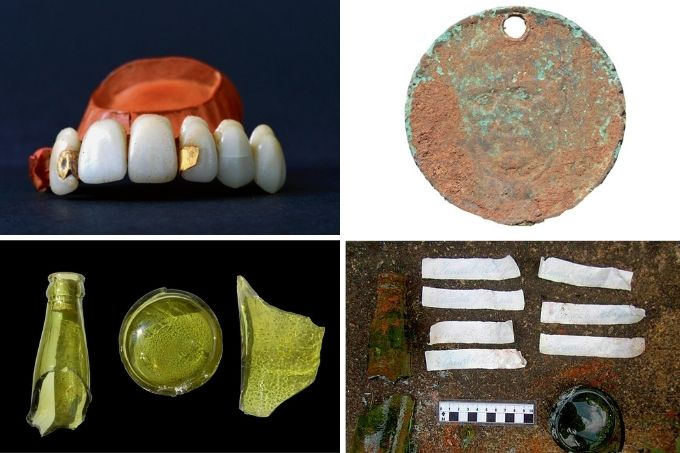 A montagem mostra imagem de quatro itens coletados: a dentadura, com dois pedaços de ouro entre os dentes, a moeda, uma garrafa quebrada e sete tiras de papéis deitada numa tábua.