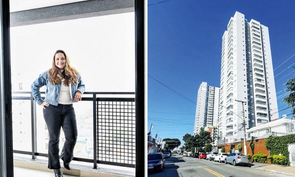 A imagem dividida em duas mostra, à esquerda, Anelise apoiada despojada em sua sacada, de costas para ela, e sorrindo para a câmera. À direita, a imagem da perspectiva da rua enxerga um prédio grande na Vila Matilde.