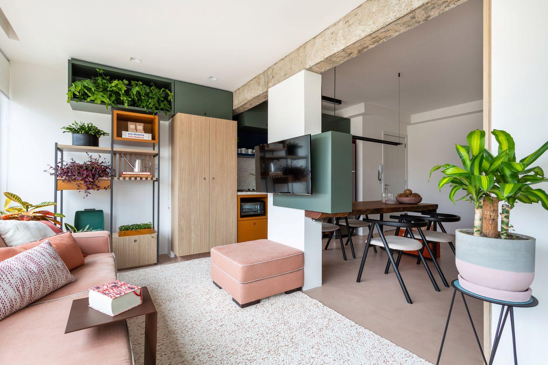 As cores do apartamento TLP foram inspiradas na obra Abaporu