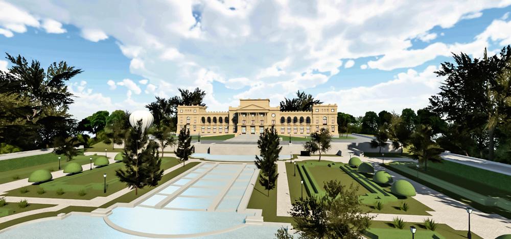 A imagem é uma projeção digital da nova fachada do Museu do Ipiranga, com diversos espaços vazios.
