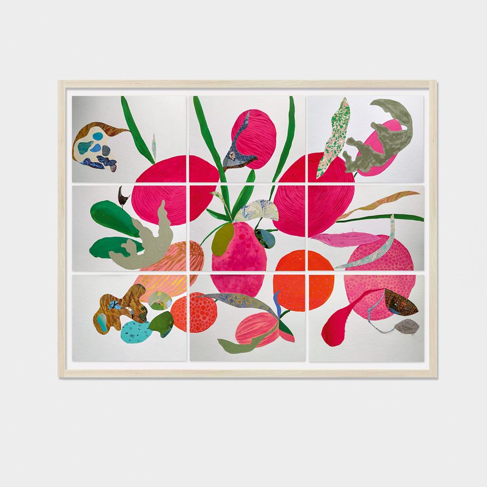 Foto mostra colagem em quadro, dividida em nove partes, com o que parecem ser frutas, plantas e animais nas cores rosa, laranja e verde