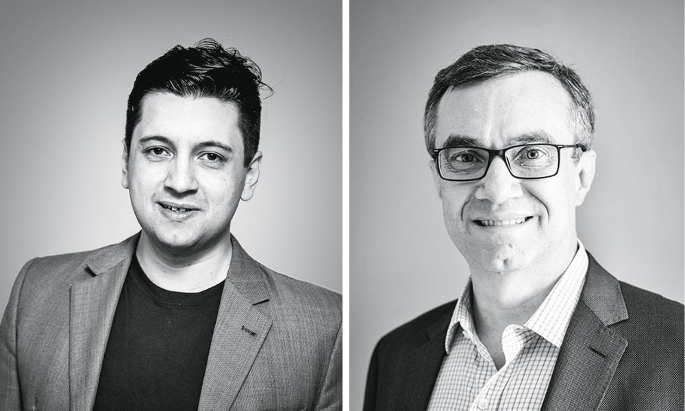 A imagem mostra Davi e Marcelo, dois retratos de ambos sorrindo em fotos preto e branco