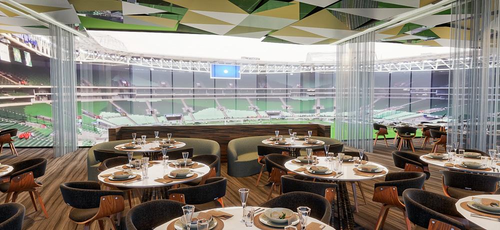 Croqui de restaurante a ser inaugurado no allianz parque com vista para o gramado.