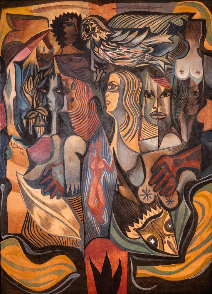 Obra mostra rostos, formas abstratas e geométricas, silhuetas, cabelos, um pássaro, tudo misturado