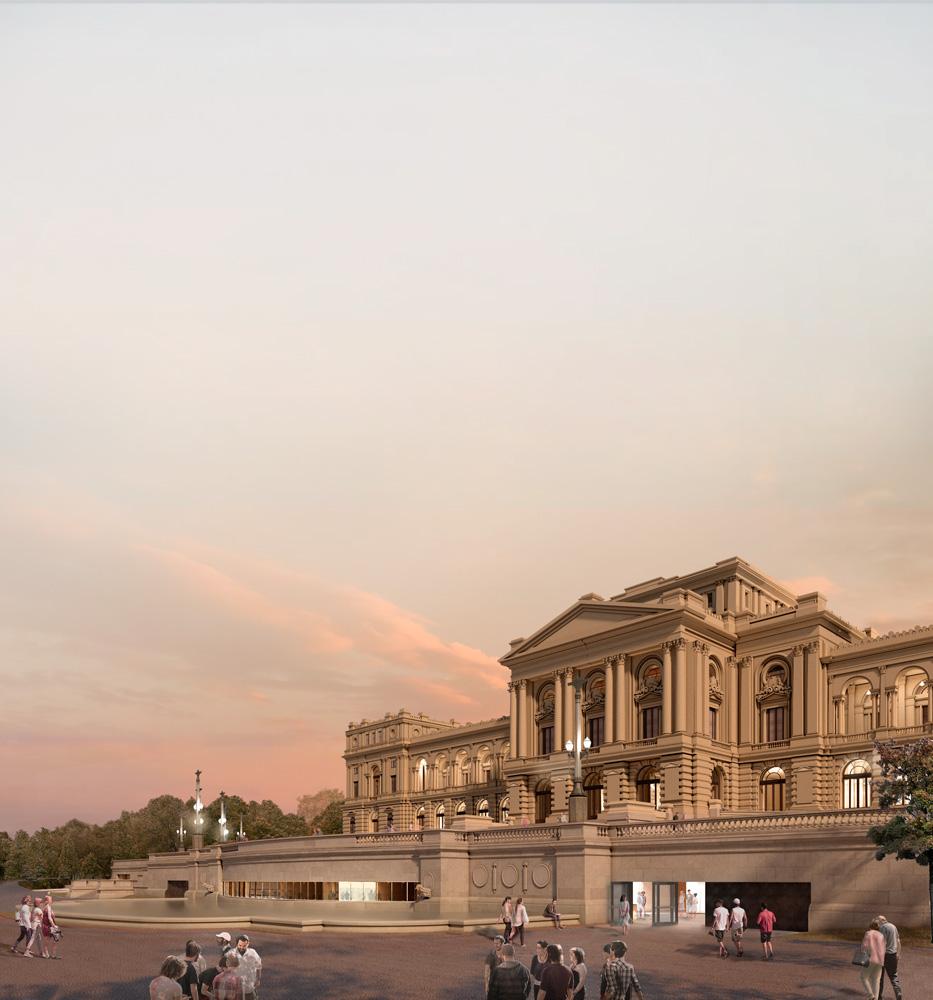 A imagem é uma projeção virtual da nova fachada do Museu do Ipiranga. O céu é de fim de tarde, com o sol quase se pondo completamente.