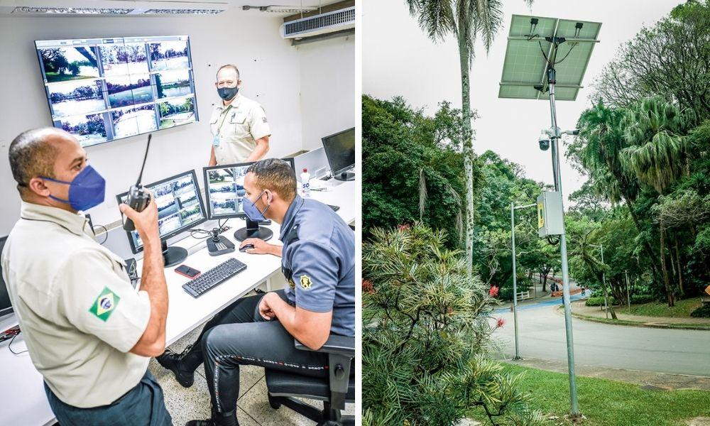 A imagem mostra duas fotos. À esquerda, guardas em uma sala repleta de telas para monitorar as câmeras de segurança do parque. À direita, uma das câmeras em um poste fino, próximo a uma via do Parque Ibirapuera.