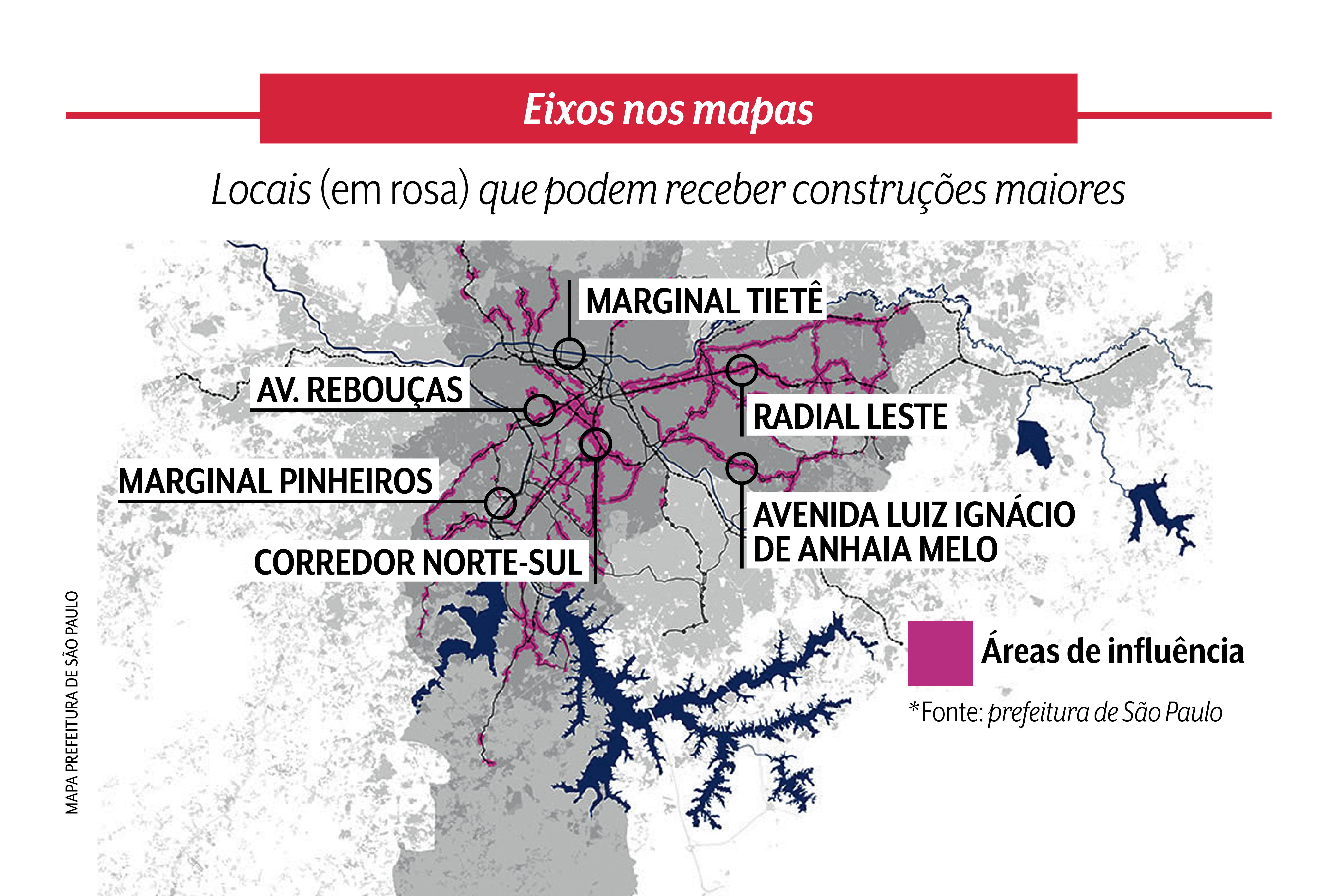 A arte mostra áreas de influências na grande São Paulo onde é possível fazer construções maiores. São algumas delas a Rebouças, Marginal Pinheiros, Tietê, Radial Leste e Av. Luiz Ignácio de Anhaia Melo.