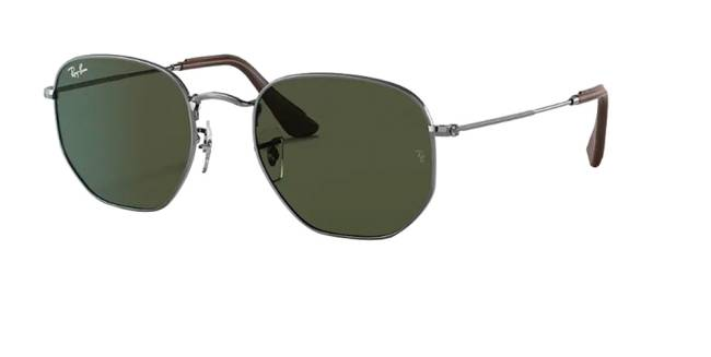 Um óculos de sol com lente hexagonal