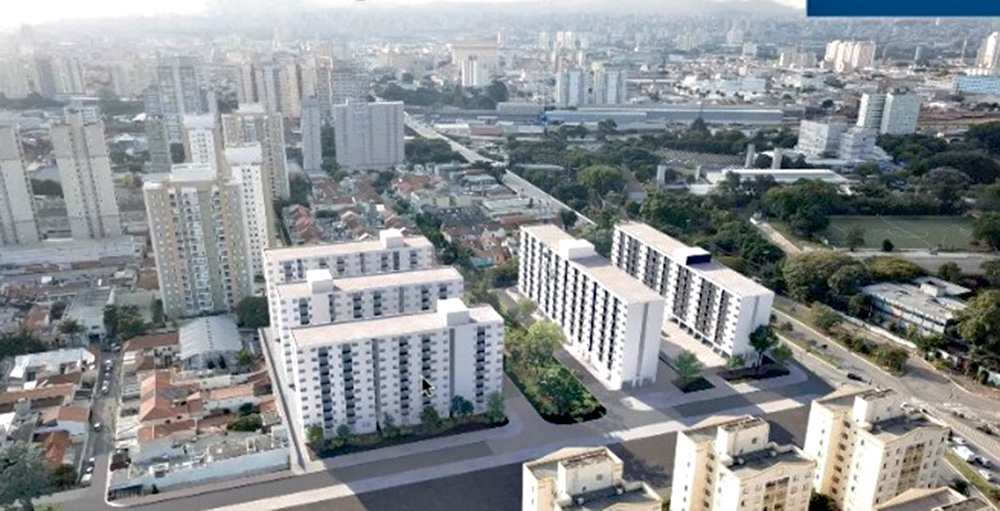 A imagem mostra um croqui da região da Mooca e como ela fica com a construção dos novos prédios