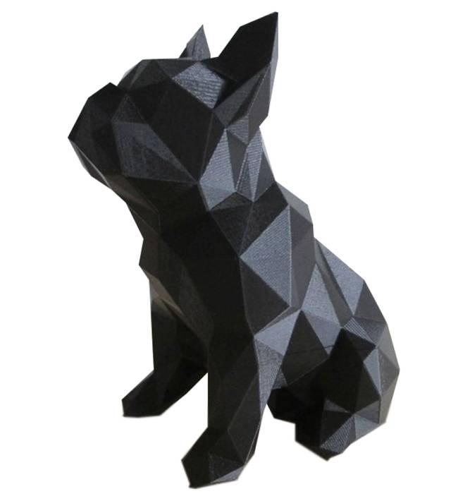 Estátua da silhueta de um cachorro bulldog preto sentado