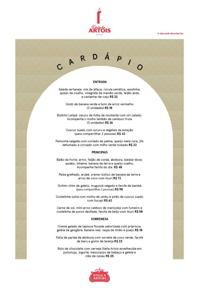 Print do cardápio Portinha Artois.