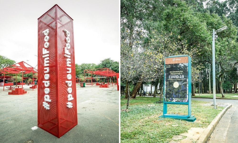 A imagem mostra, à esquerda, a praça de alimentação temporária, com patrocínios da Ifood. À direita, um totem em uma rua dentro do Parque Ibirapuera.