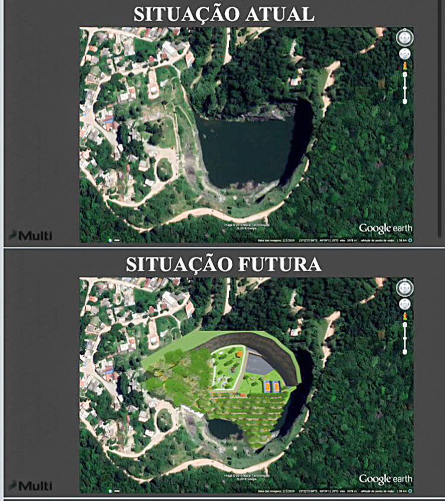 imagem dividida em duas: na parte de cima, foto aérea da região da pedreira escrito