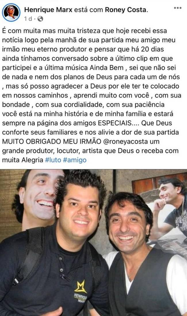 Post do médico cantor Henrique Marx sobre a morte do amigo