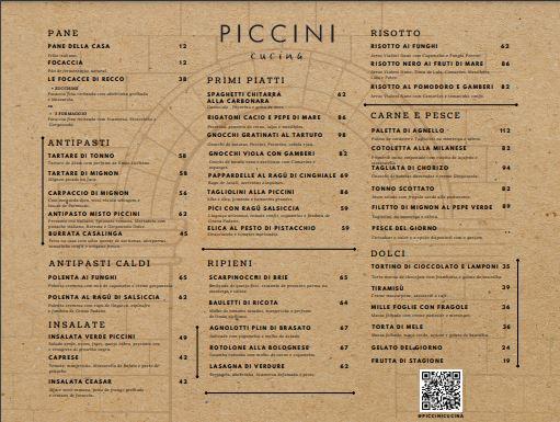 Print do cardápio do Piccini Cucina.