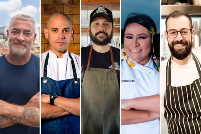 Imagens verticais unidas por linhas finas brancas do chef Alex Atala, Fabrício Lemos, Saulo Jennings, Kalymaracaya Nogueira e Marcelo Schambeck.