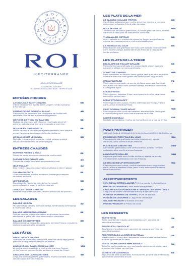 Print do cardápio do restaurante Roi Méditerranée.