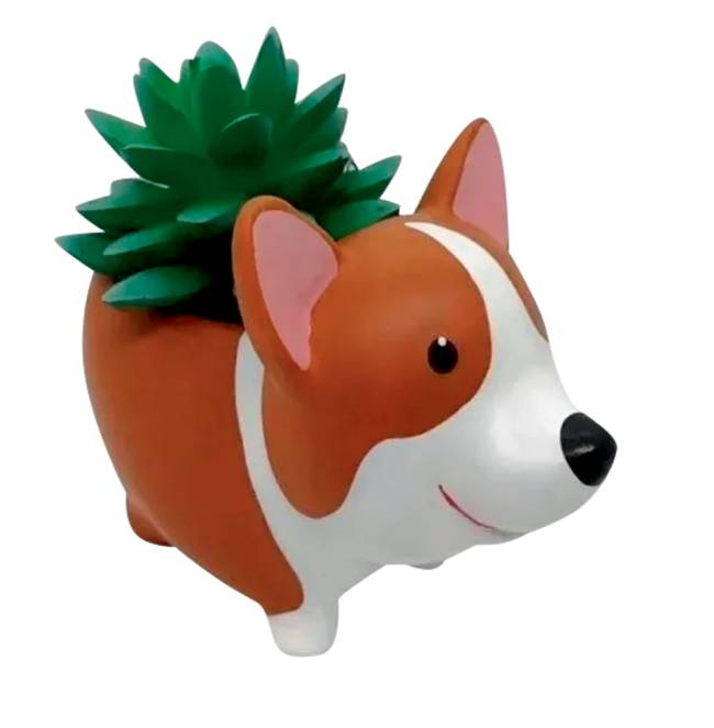 Um vasinho de plantas com desenho de cachorro em plástico