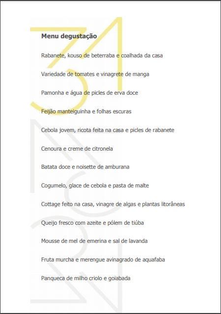 Print do cardápio do 31 Restaurante.