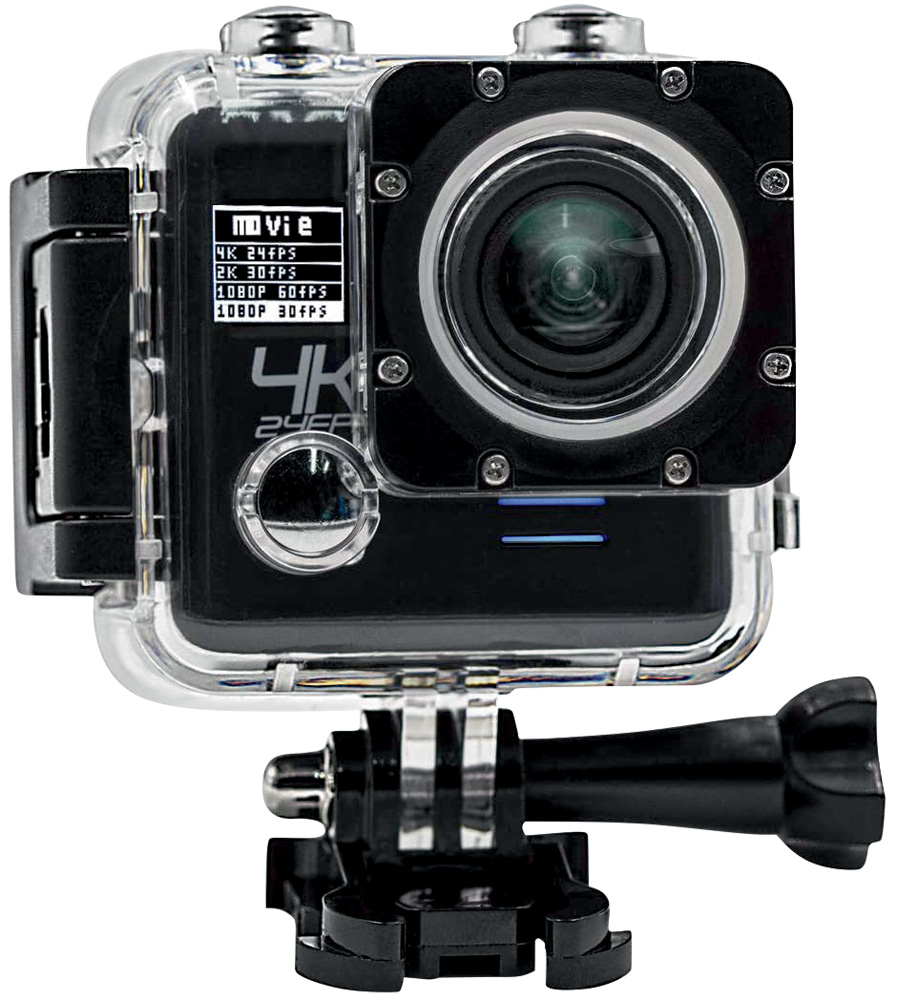 Uma mini câmera, no estilo GoPro preta