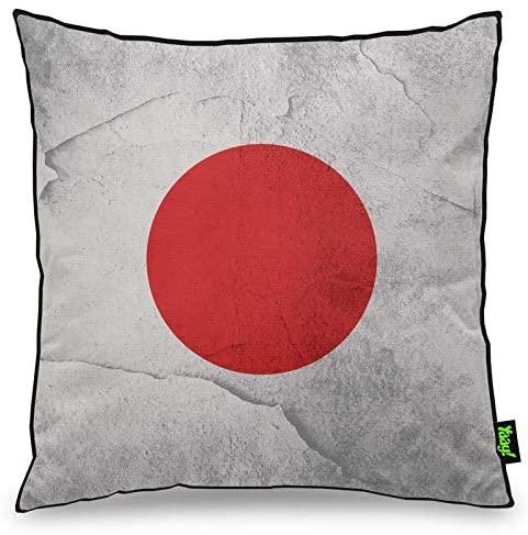 Uma almofada tem a bandeira do Japão estampada