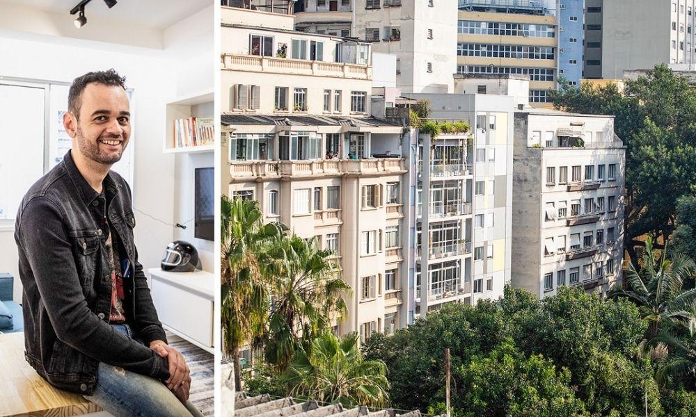 A imagem mostra Baleeiro dentro de um apartamento, apoiado numa mesa, posando para foto sorrindo para a câmera. À direita, a imagem mostra um prédio no Centro de São Paulo, uma fachada com quadrados amarelos.