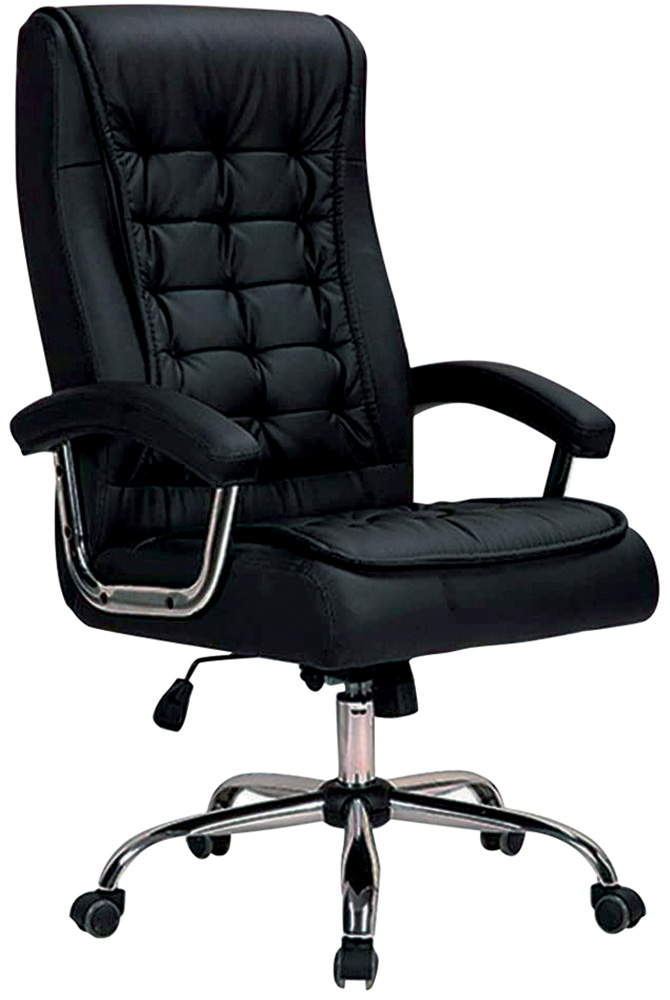 Uma cadeira no estilo presidente estofada preta