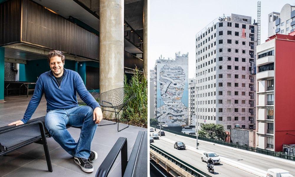 A imagem mostra André Czitrom na entrada de um prédio, sentado em m banco. À direita, outra fotografia retrata um prédio logo em frente ao minhocão, ainda sem pintura.