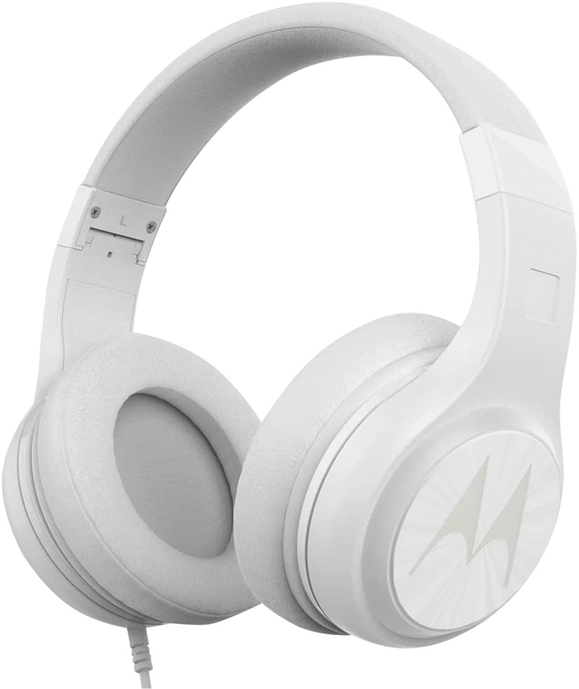 Um fone de ouvido modelo grande branco. Tem o símbolo da Motorola estampado
