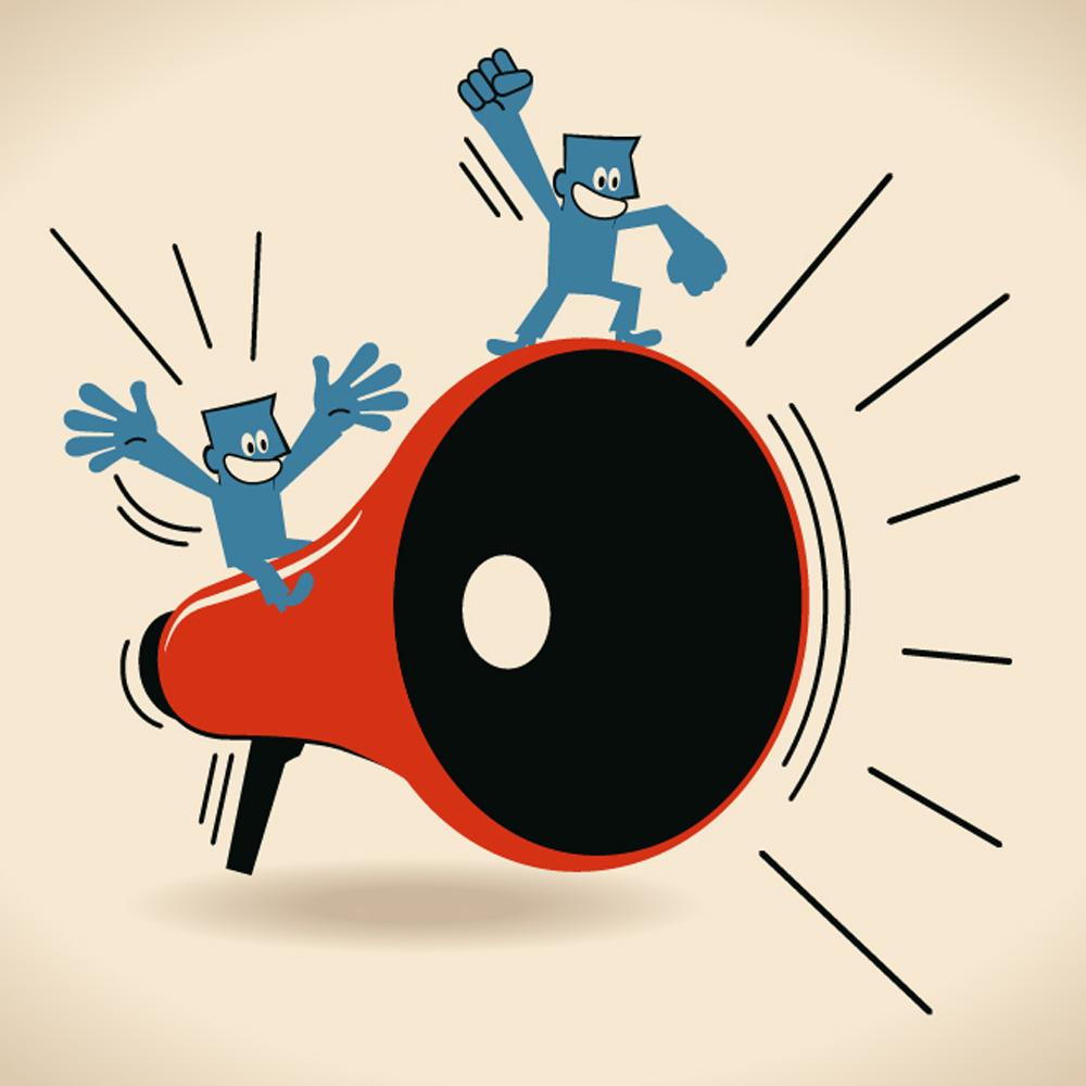 Ilustração mostra dois homens em cima de um megafone. Parecem estar gritando e felizes