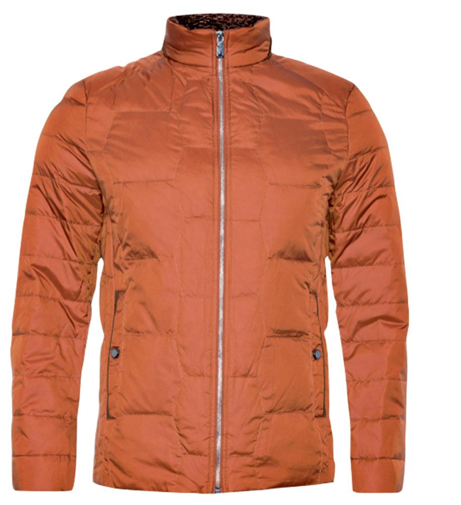 Uma jaqueta cor laranja fechada com zíper