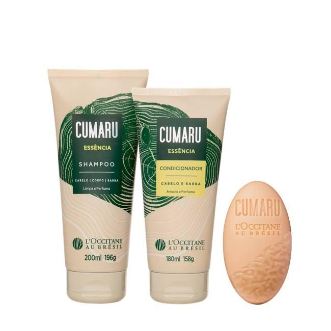 Dois itens em embalagem bisnaga na cor bege com detalhe em verde e um sabonete solto bege