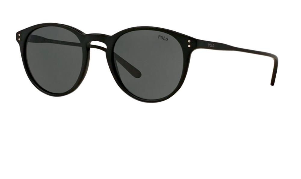 Um óculos com lentes arredondadas preto
