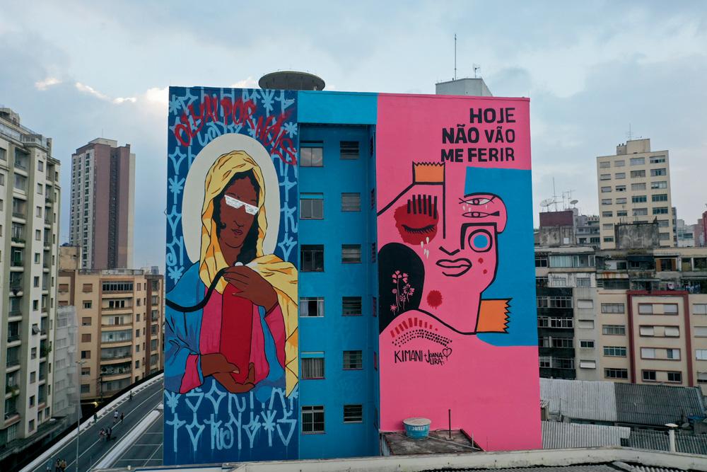 imagem de grafite pintado em fachada de prédio adjacente ao minhocão