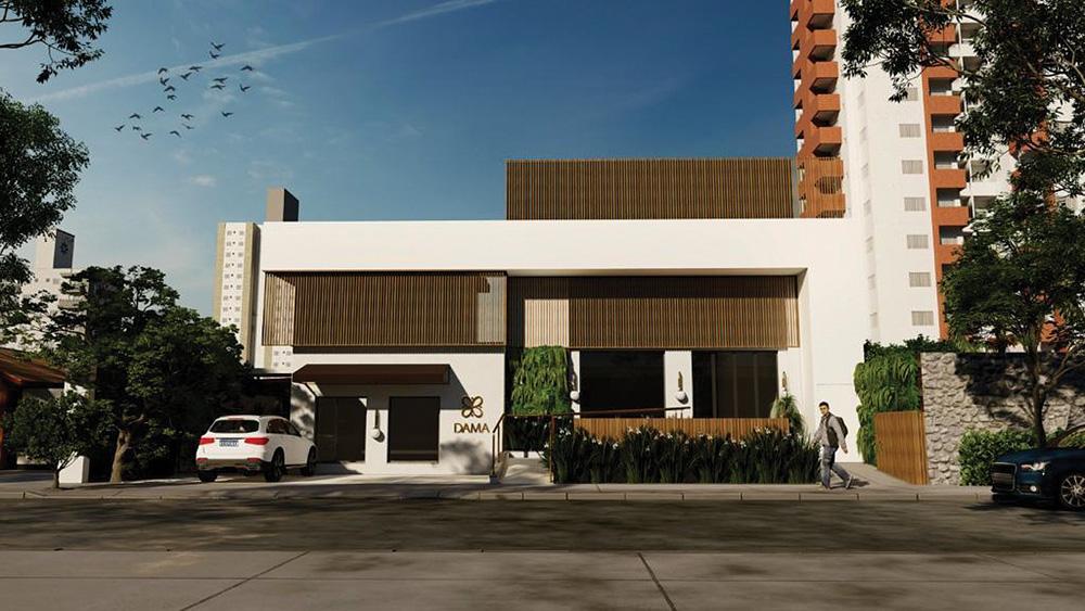 Projeto 3D da fachada da Confeitaria Dama em Pinheiros.