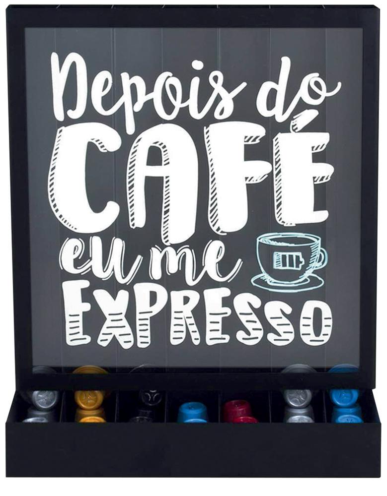 Um porta-cápsulas de café com o escrito